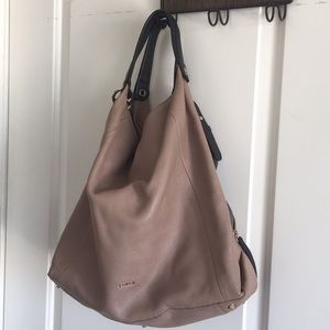 FURLA Beige leather hobo bag with zipped sides